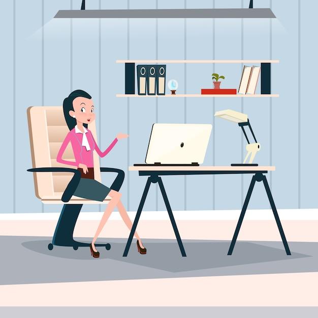 Computer portatile funzionante dello scrittorio di seduta della donna di affari Vettore Premium