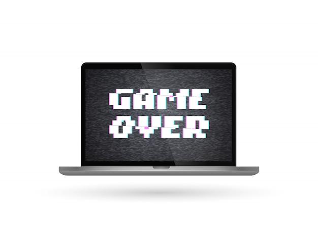 Computer portatile isolato di vettore con il gioco sopra testo sullo schermo. effetto glitch Vettore Premium