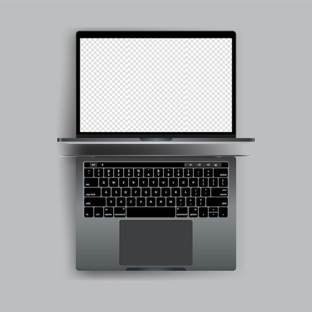 Computer portatile realistico con il vettore schermo vuoto Vettore Premium