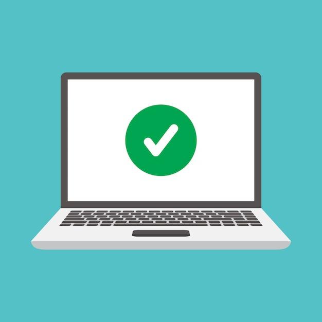 Computer portatili e segni di spunta Vettore Premium