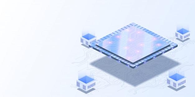 Computer quantistico, elaborazione dati di grandi dimensioni, sala server, concetto di base dati. cpu futuristica. processore quantistico nella rete informatica globale. Vettore Premium