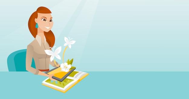Computer tablet della tenuta della giovane donna sopra il libro Vettore Premium