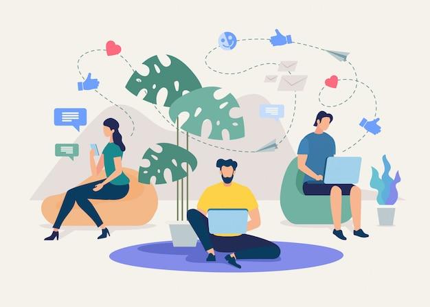 Comunicazione online del team aziendale Vettore Premium