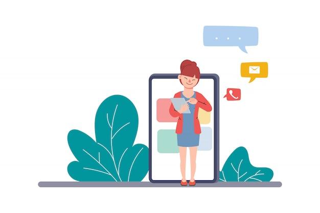 Comunicazione tramite chat mobile. invia e ha ricevuto il messaggio concetto aziendale infografica. persone dei social media. Vettore Premium