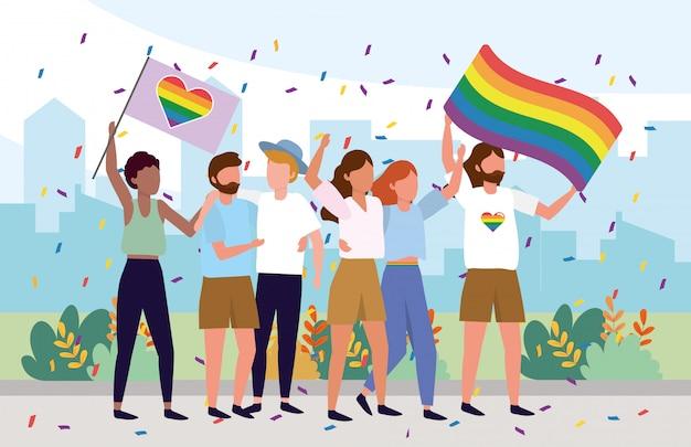 Comunità lgbt insieme a bandiere arcobaleno Vettore Premium