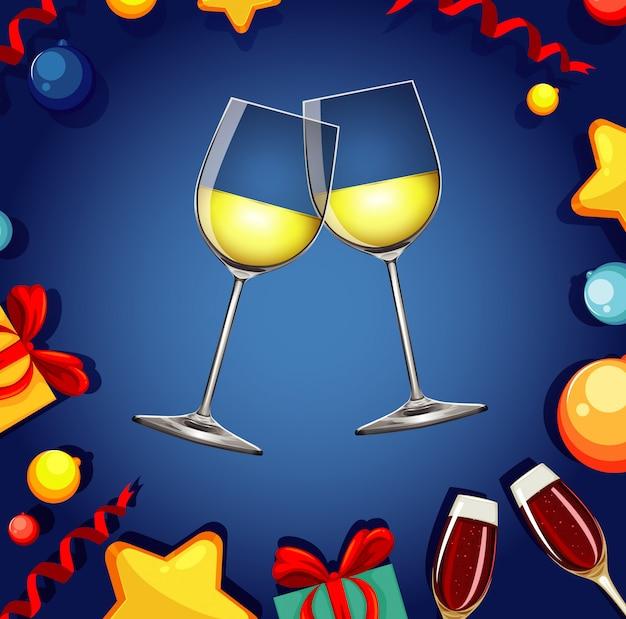 Con due bicchieri di champagne e fuochi d'artificio Vettore gratuito
