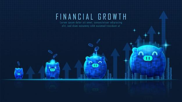 Concept art di crescita finanziaria Vettore Premium