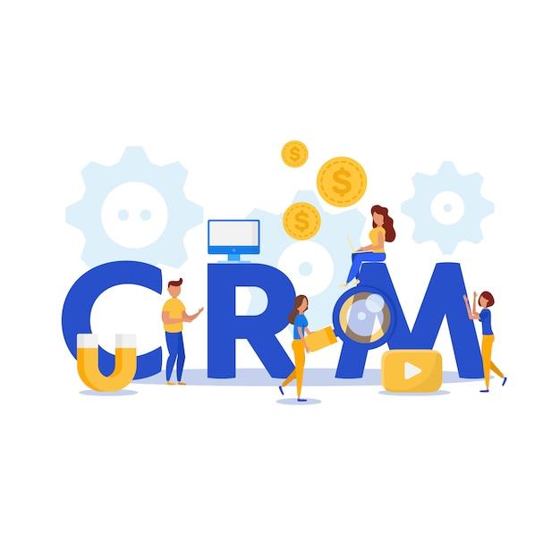 Concept design crm con elementi vettoriali. Vettore Premium