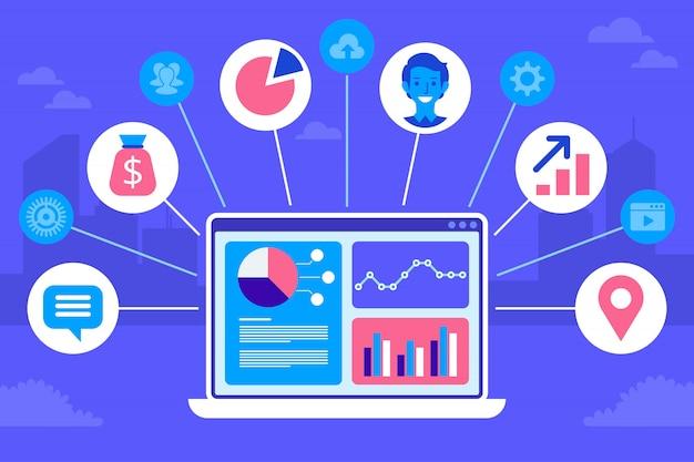 Concept design crm. icone piatte del sistema contabile, clienti, supporto, affare. Vettore Premium