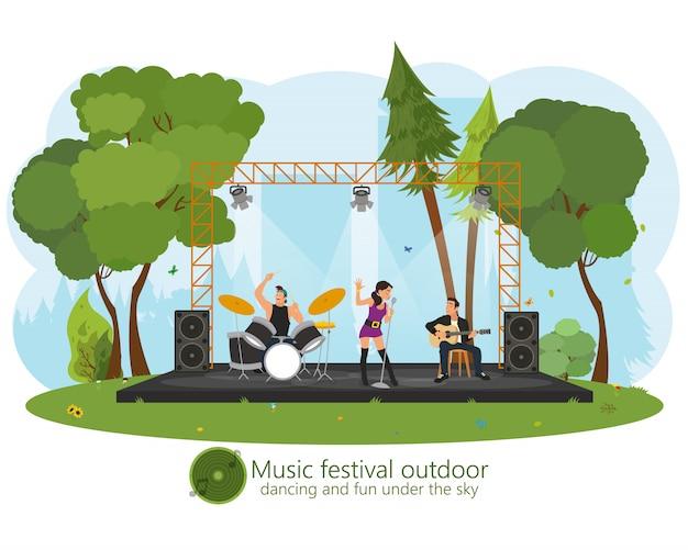 Concerto di musica nel parco. Vettore Premium