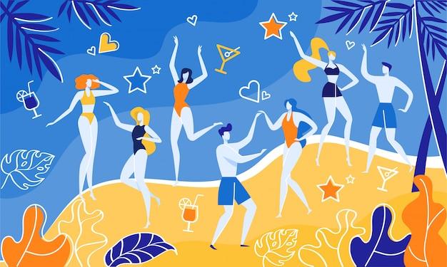 Concerto di musicisti vicino al mare, beach party summer. Vettore Premium