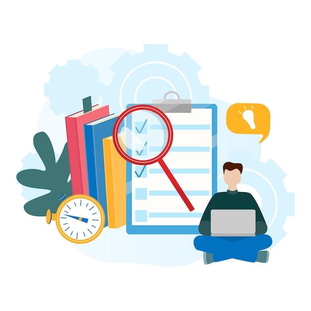 Concetti di illustrazione vettoriale piatto moderno per e-learning, formazione online Vettore Premium