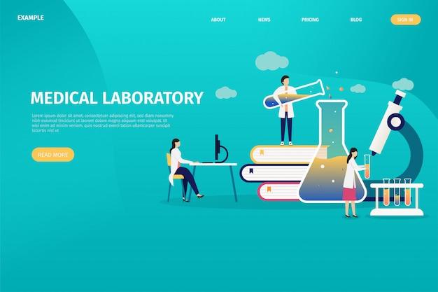Concetti di progettazione di laboratori medici, test individuali di salute, analisi personale. Vettore Premium