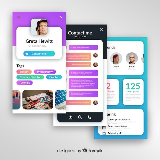 Concetti per app mobile Vettore gratuito