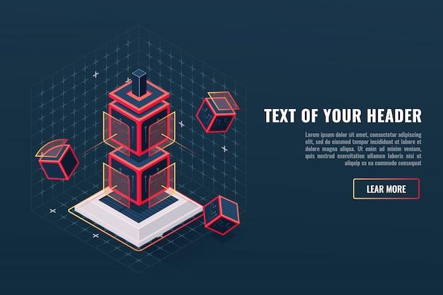 Concetto astratto di gioco icona elemento totem, checkpoint, visualizzazione dei dati digitali Vettore gratuito