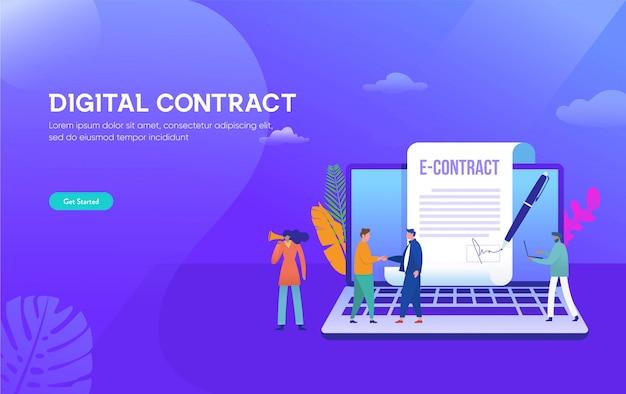 Concetto astuto dell'illustrazione del contratto digitale, uomo d'affari che firma accordo di contratto online con il computer portatile Vettore Premium