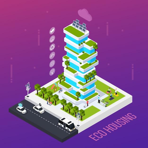 Concetto astuto della città con tecnologia abitativa di eco, illustrazione isometrica di vettore Vettore gratuito