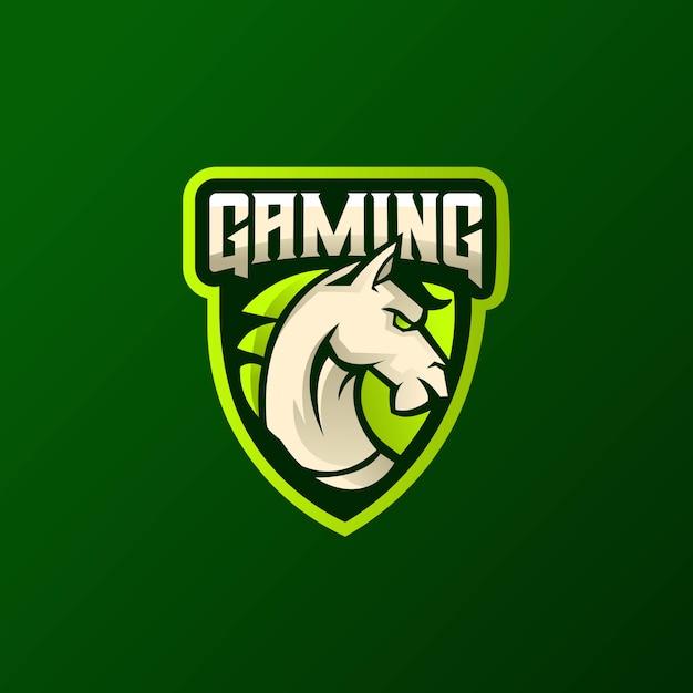 Concetto atletico di logo di vettore del club della testa di cavallo isolato su spazio scuro. Vettore Premium