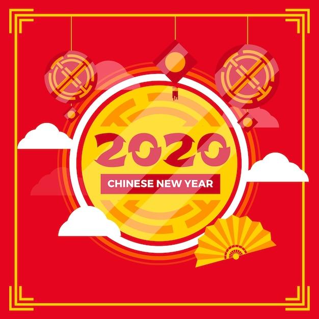 Concetto cinese di nuovo anno nella progettazione piana Vettore gratuito