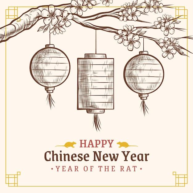 Concetto cinese disegnato a mano del nuovo anno Vettore gratuito