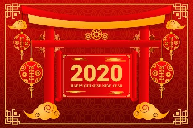 Concetto cinese dorato del nuovo anno Vettore gratuito