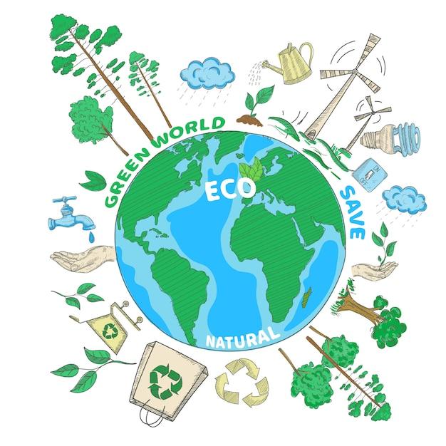 Concetto colorato di ecologia verde del mondo di scarabocchio Vettore gratuito