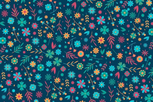 Concetto colorato stampa floreale ditsy per carta da parati Vettore gratuito