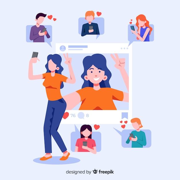Concetto con selfie per l'applicazione sociale Vettore gratuito
