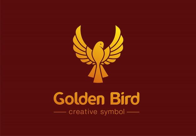 Concetto creativo di simbolo dell'uccello dorato in volo. gioielli premium, idea logo astratto business moda. fenice, colomba, icona di colibrì Vettore Premium