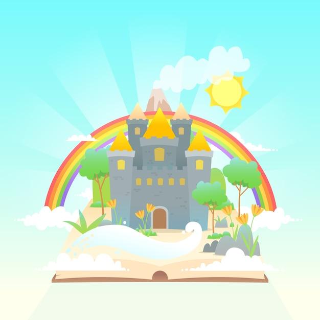 Concetto da favola con arcobaleno Vettore gratuito