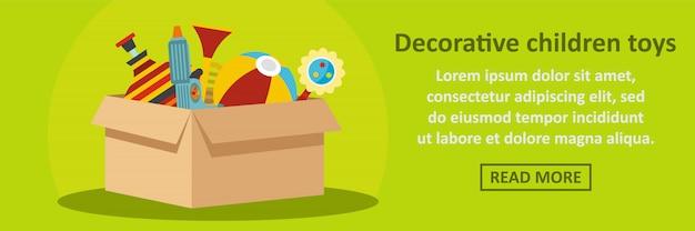 Concetto decorativo di orizzontale del modello dell'insegna dei giocattoli dei bambini Vettore Premium