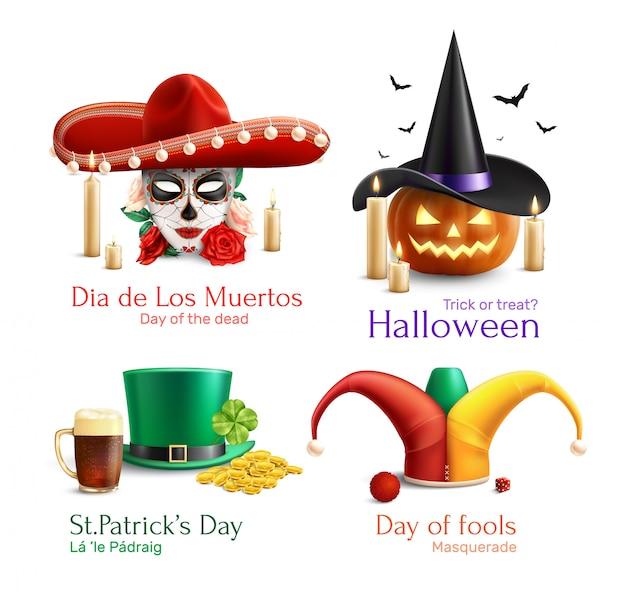 Concetto dei cappelli in maschera 2x2 con il giorno del giorno morto delle icone quadrate di giorno di halloween st patrick di sciocchi realistiche Vettore gratuito