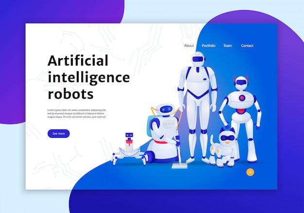 Concetto dei robot di intelligenza artificiale dell'illustrazione dell'insegna di web Vettore gratuito