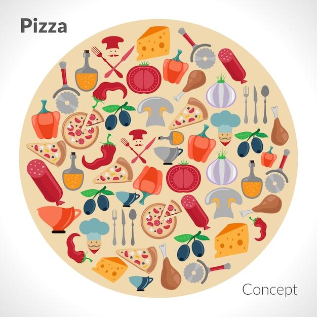 Concetto del cerchio della pizza Vettore gratuito