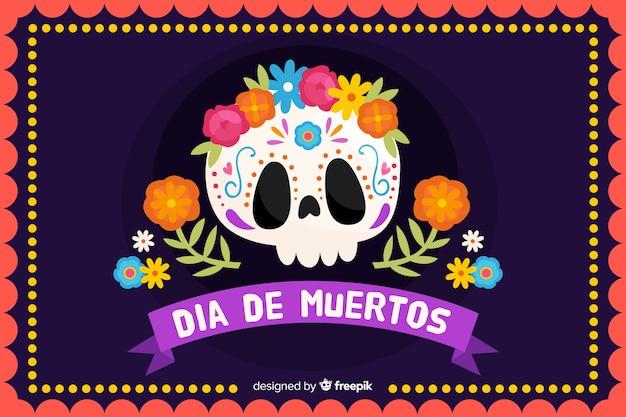 Concetto del dia de muertos con fondo disegnato a mano Vettore gratuito