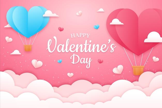 Concetto del fondo di giorno di biglietti di s. valentino nello stile di carta Vettore gratuito