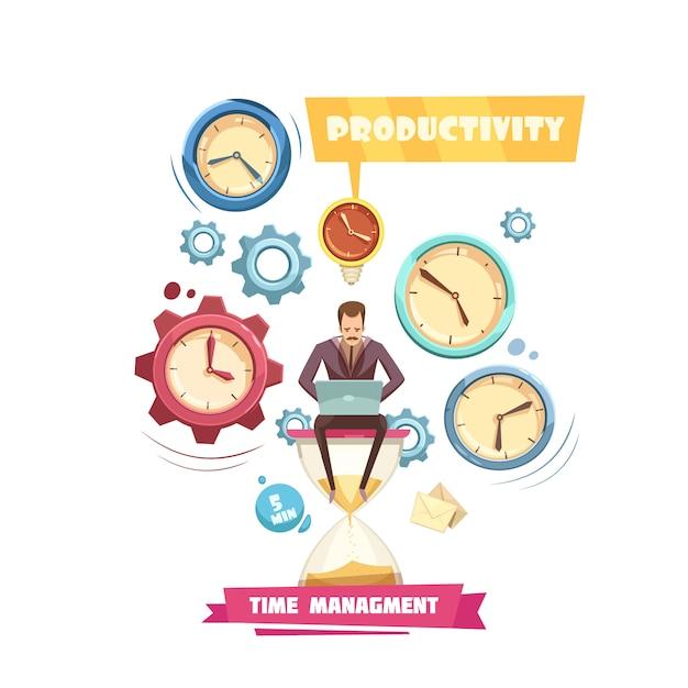 Concetto del fumetto della gestione di tempo retro con produttività dell'uomo che si siede sulla clessidra su fondo bianco Vettore gratuito