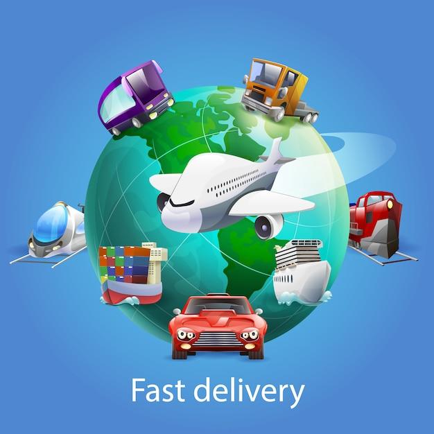 Concetto del fumetto di consegna veloce Vettore gratuito