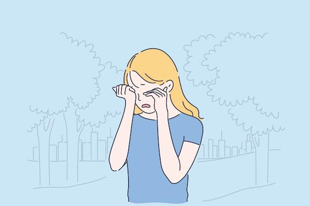 Concetto del fumetto di depressione, frustrazione e solitudine Vettore Premium