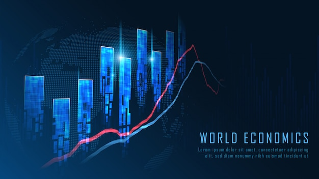 Concetto del grafico commerciale del mercato azionario o del forex Vettore Premium