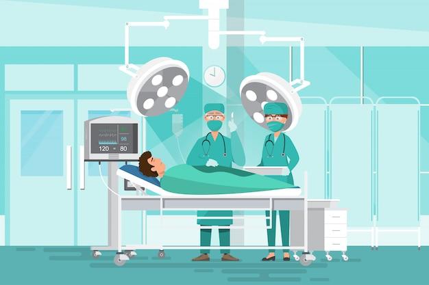 Concetto del gruppo del personale medico in ospedale. team chirurgo medici, infermiere e paziente Vettore Premium