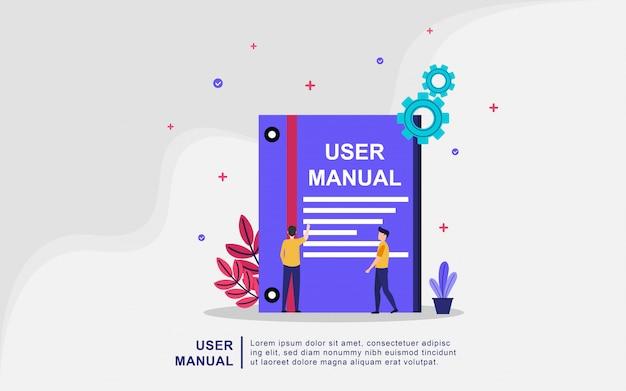 Concetto del libro del manuale dell'utente con le persone. guida, istruzioni per l'uso Vettore Premium