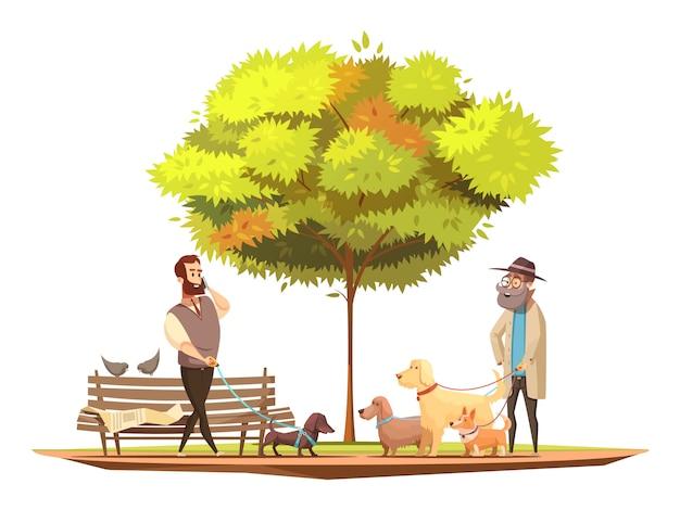Concetto del proprietario del cane con la camminata nell'illustrazione di vettore del fumetto di simboli del parco Vettore gratuito