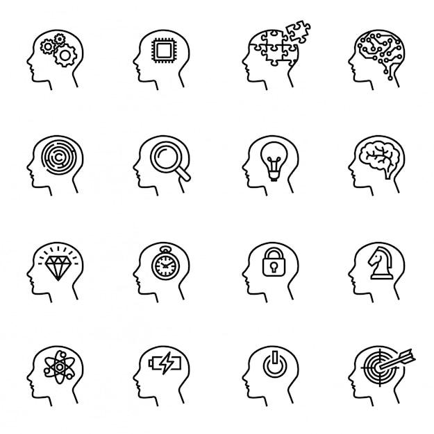 Concetto dell'icona di testa umana, affari e motivazione. Vettore Premium