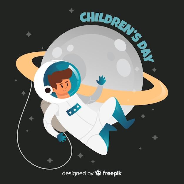 Concetto dell'illustrazione con l'astronauta per il giorno dei bambini Vettore gratuito