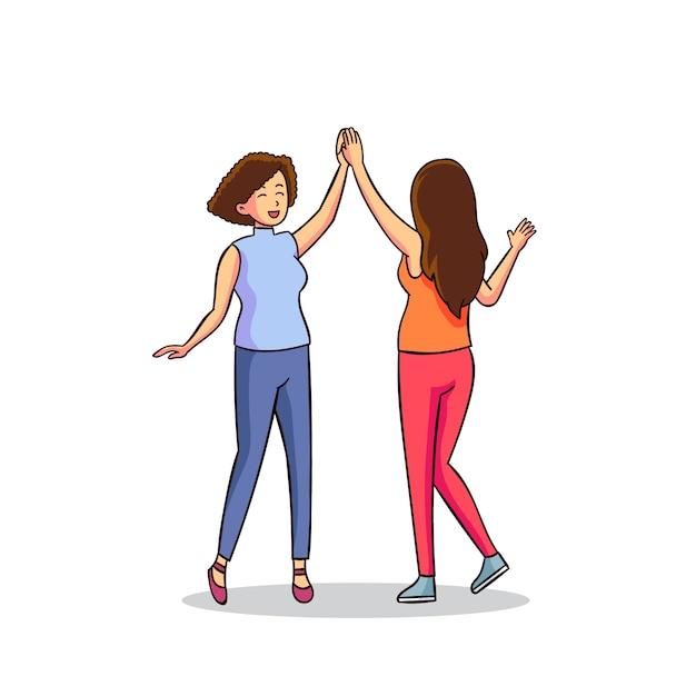 Concetto dell'illustrazione con le donne che danno il livello cinque Vettore gratuito