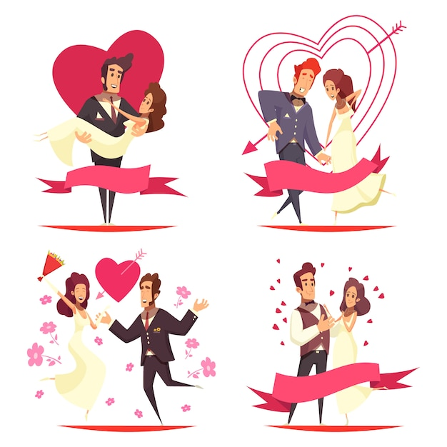 Concetto dell'illustrazione del fumetto delle persone appena sposate Vettore gratuito