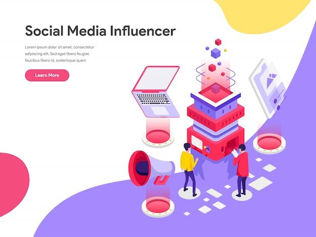 Concetto dell'illustrazione dell'influencer di media sociali Vettore Premium