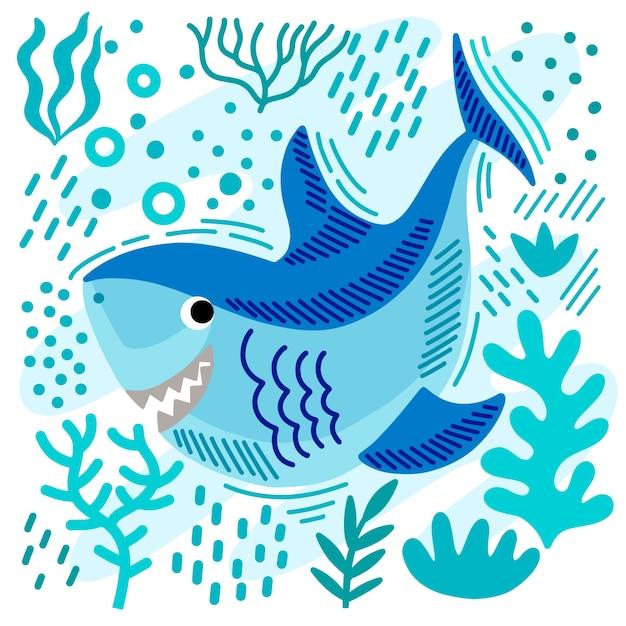 Concetto dell'illustrazione dello squalo del bambino Vettore gratuito