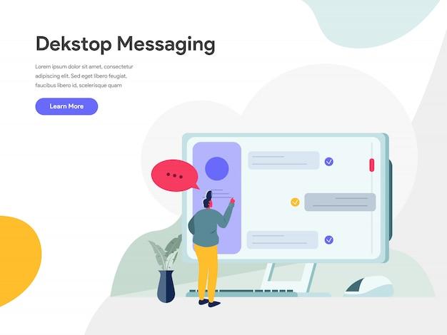 Concetto dell'illustrazione di desktop messaging Vettore Premium